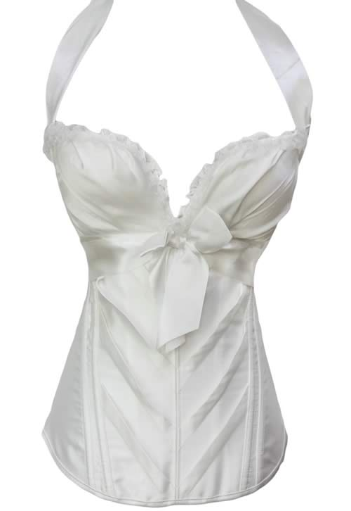 White Sweetheart Halter Body Shaper Bridal Corset Costume