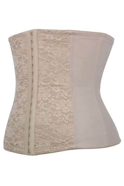 Grey Steel Boned Jacquard Waist Training Corset