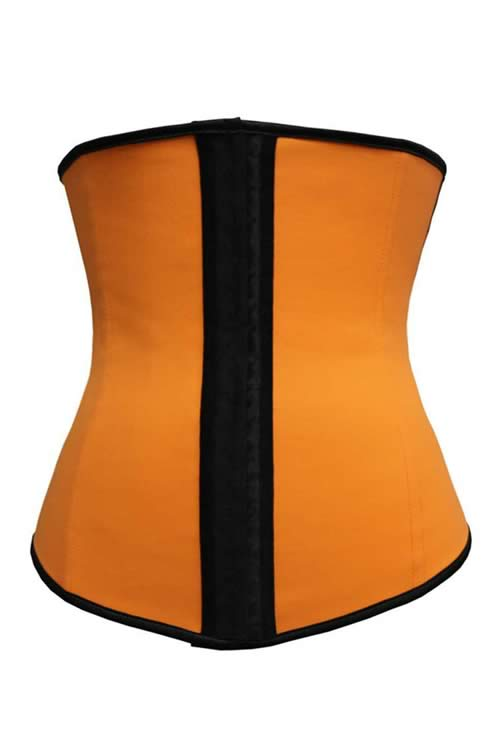 Steel Boned Hourglass Latex Underbust Corset Orange
