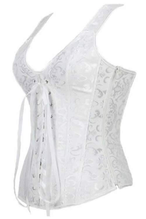 Elegant White Brocade Bridal Corset Costume