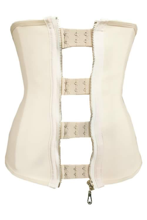 Zipper Hooks Rubber 9 Steel Boned Waist Trainer Corset White