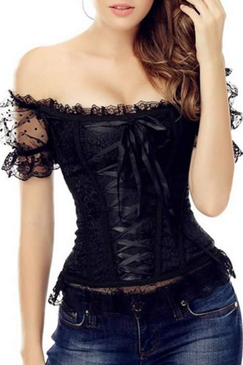 Lace Up Off the Shoulder Brocade 9 Plastic Bone Corset Black