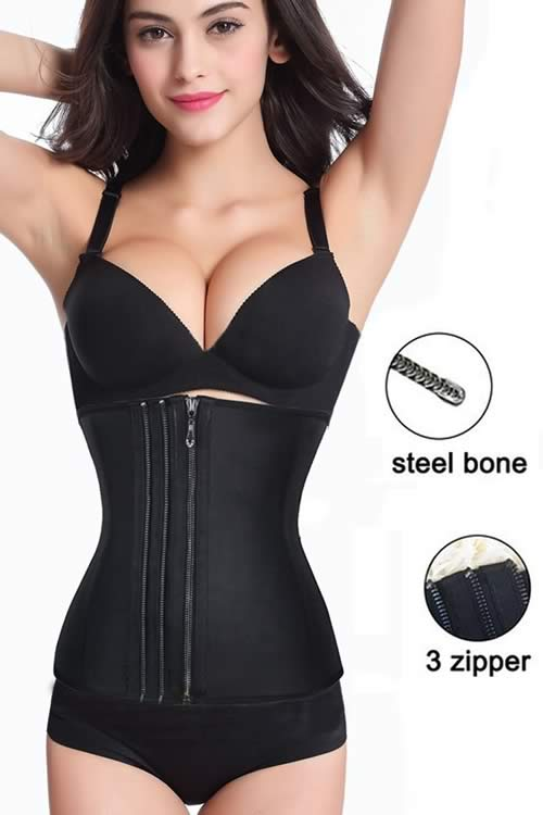 Triple Zipper Rubber 9 Steel Boned Waist Trainner Corset