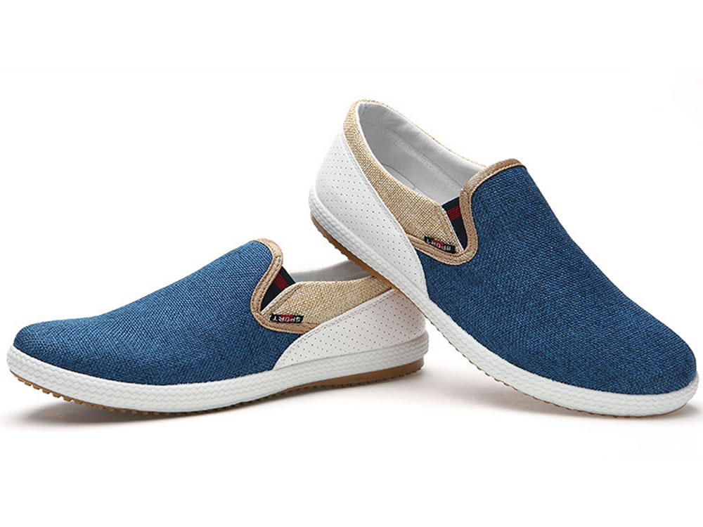 V17 High Top Blue Woven Linen Leather Breathable Canvas Shoes