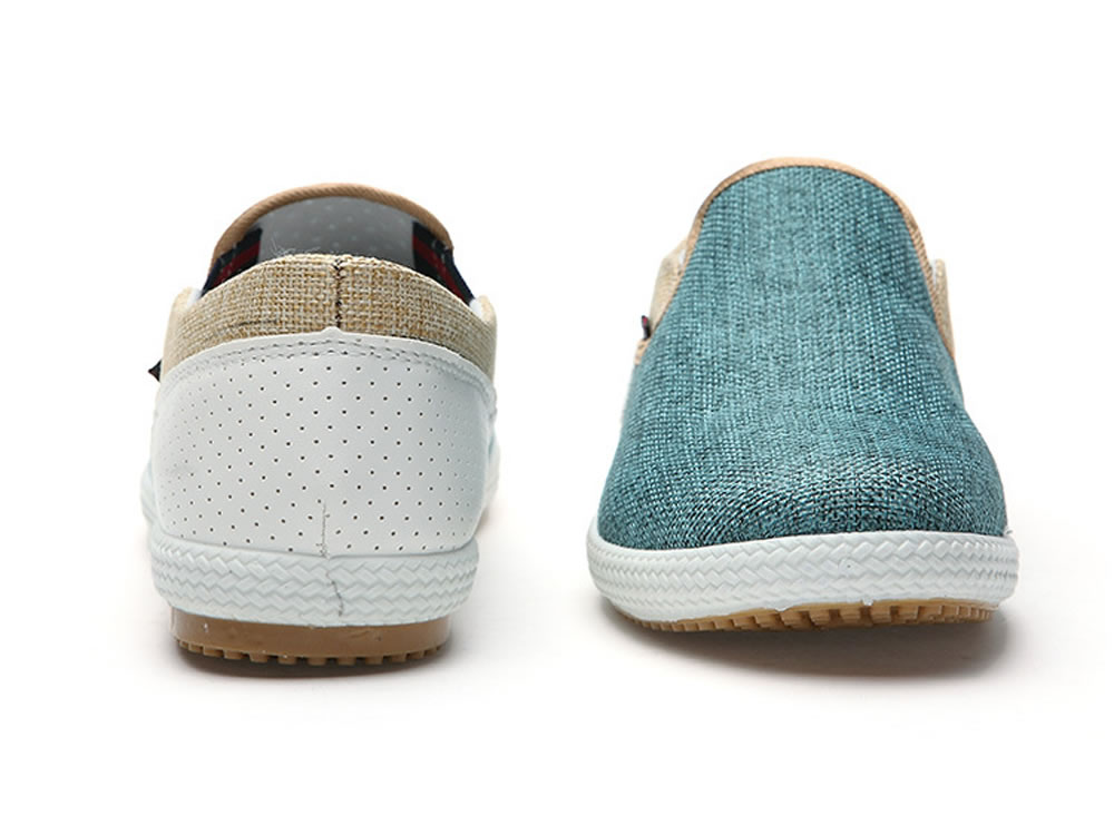 V17 High Top Green Woven Linen Leather Breathable Canvas Shoes