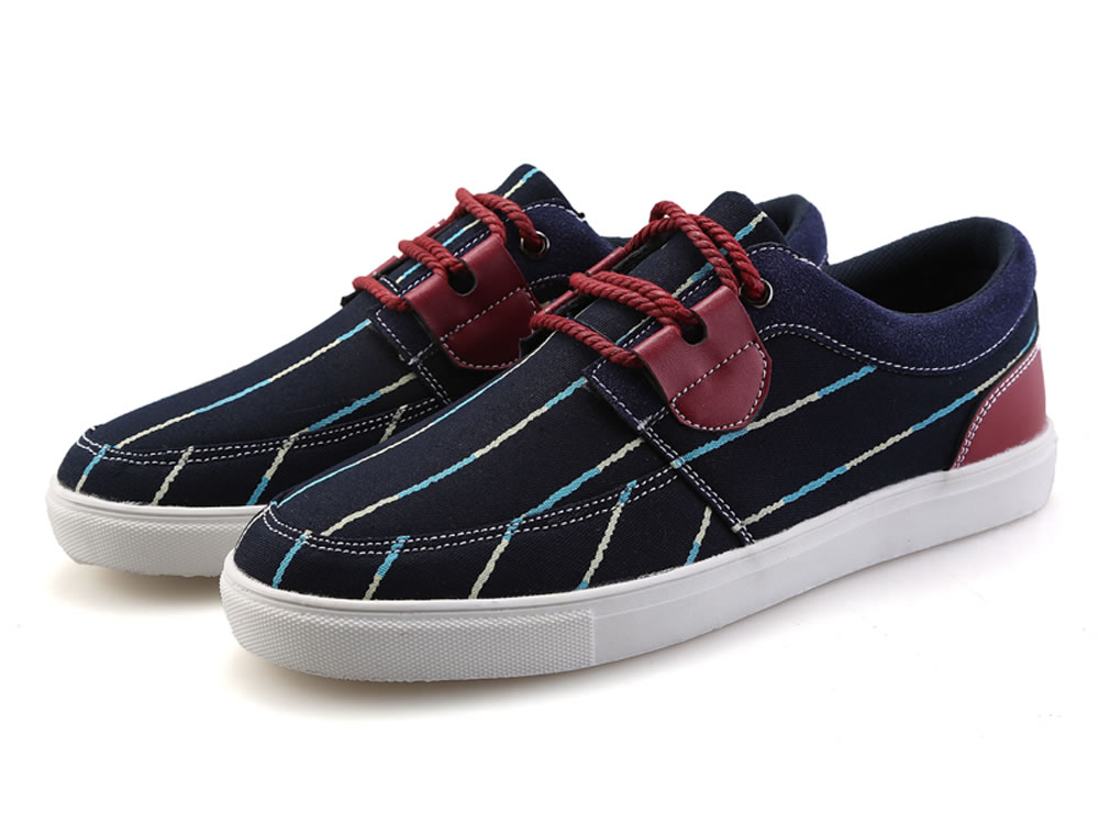 V17 Stripe Blue Washed Canvas Breathable Sneakers Shoes
