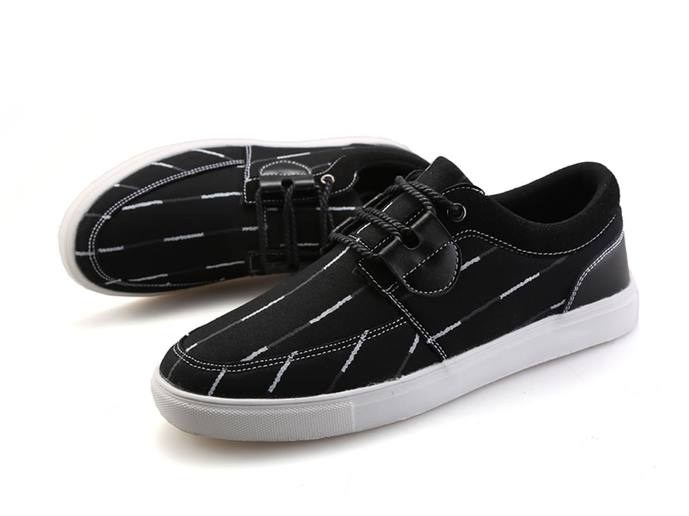 V17 Stripe Black Washed Canvas Breathable Sneakers Shoes