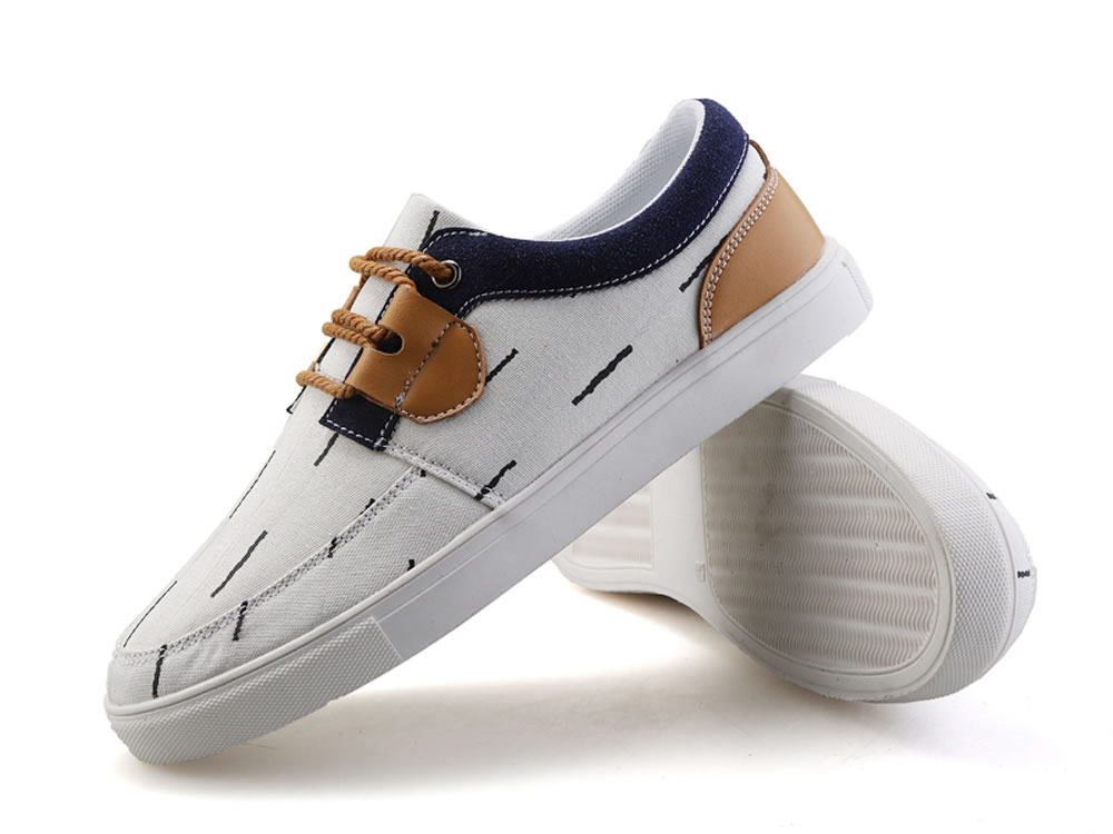 V17 Stripe White Washed Canvas Breathable Sneakers Shoes