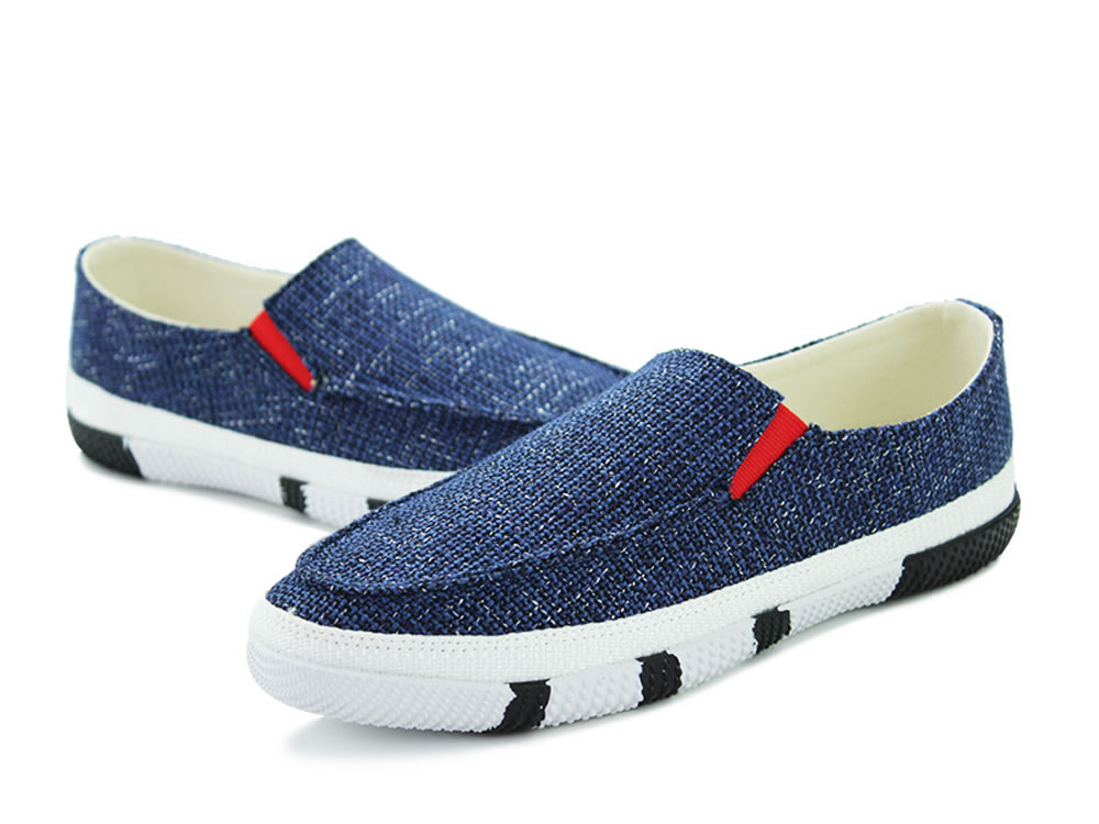 V17 Best Man Blue Breathable Canvas Rubber Slip-on Shoes