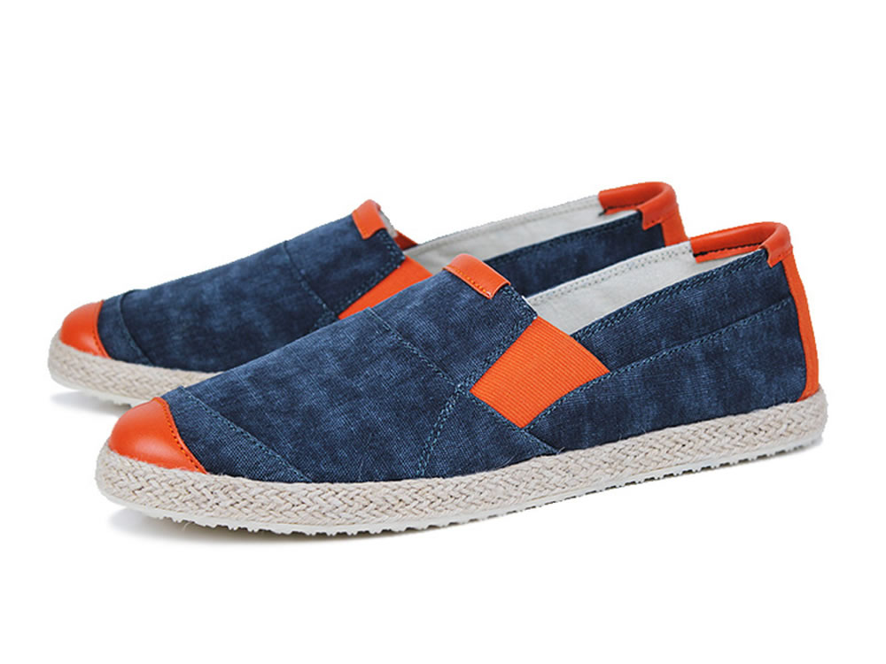 V17 New Fashion Men Canvas Skate Slip-on Shoes in Dark Blue