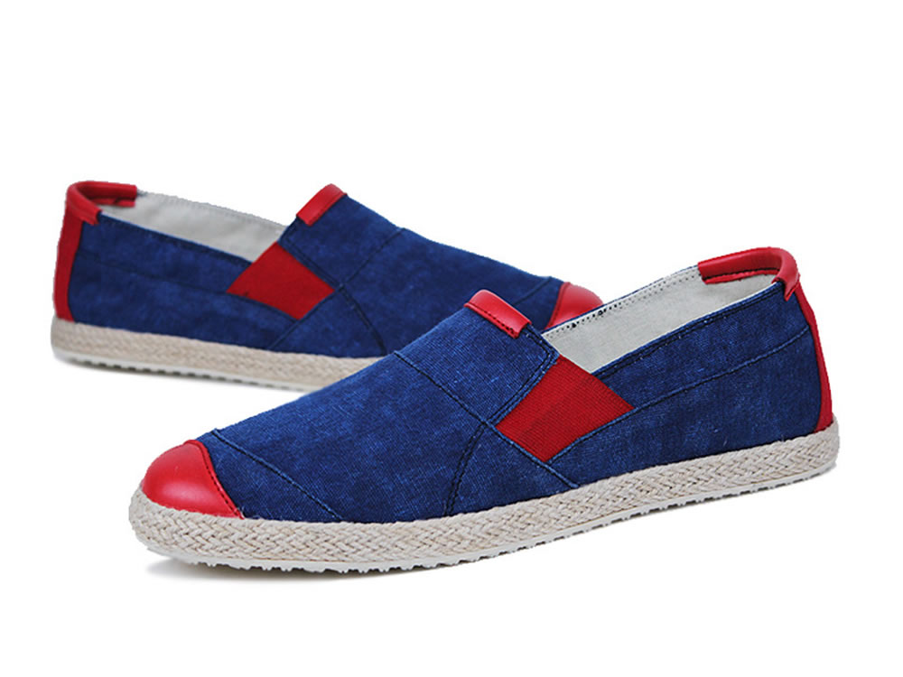 V17 New Fashion Men Canvas Skate Slip-on Shoes in Blue