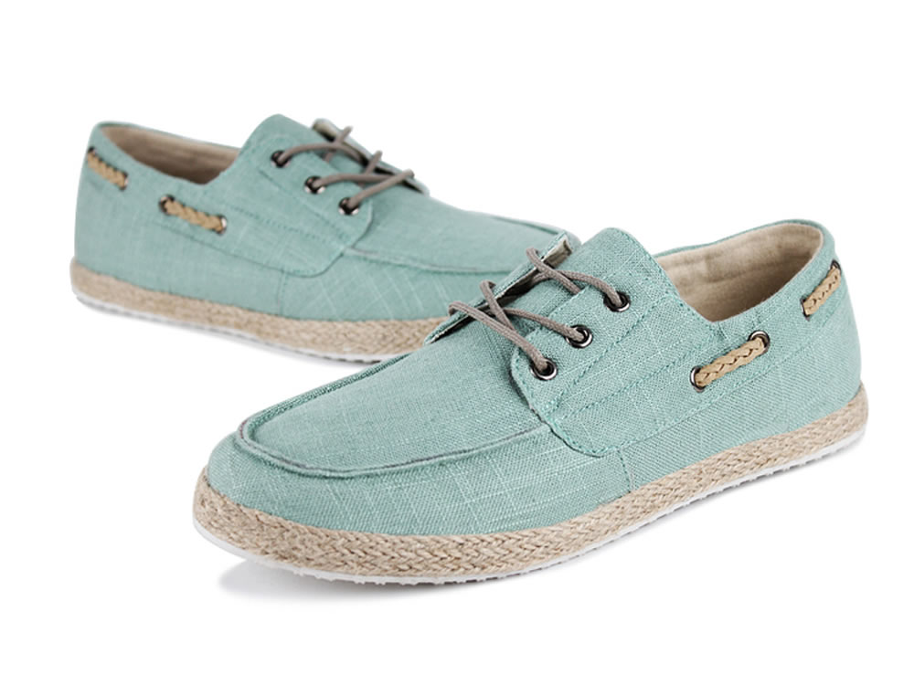 V17 Canvas Sprot Lace up Green Boat Shoes for Men