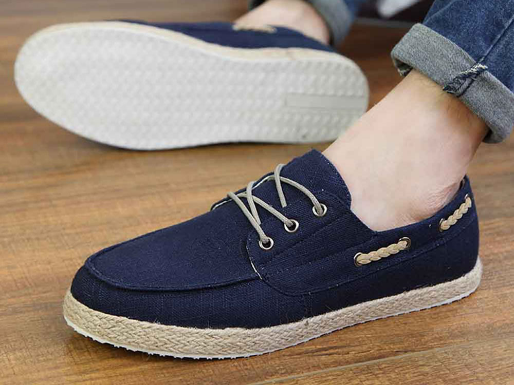 V17 Canvas Sprot Lace up Blue Boat Shoes for Men