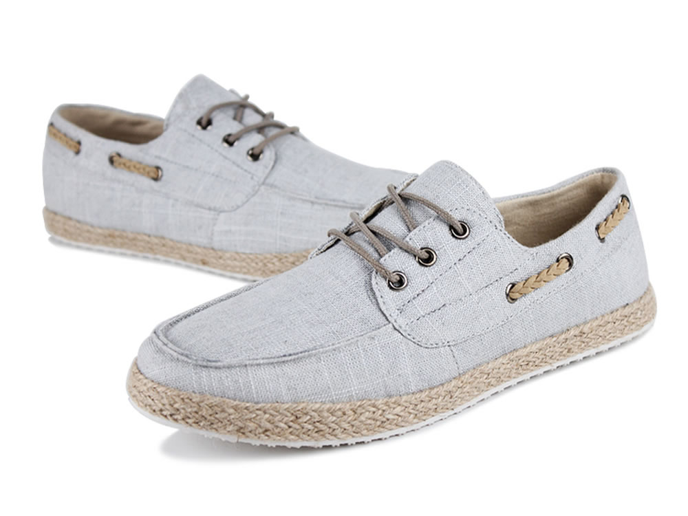 V17 Canvas Sprot Lace up Gray Boat Shoes for Men