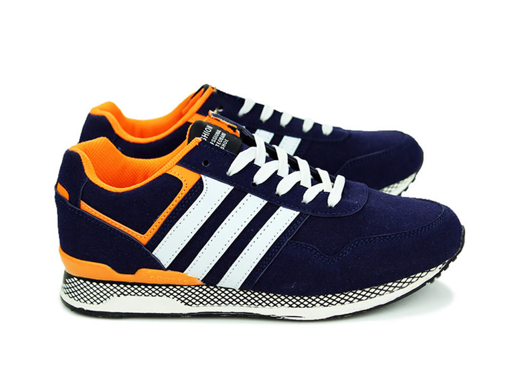 V17 Dark Blue Dull Polish Leather Lace up Men Leisur Running Shoes