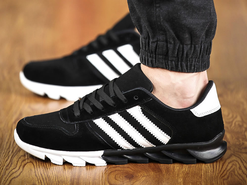 V17 Black Leather Vamp Fringe Lace up Breathable Running Shoes