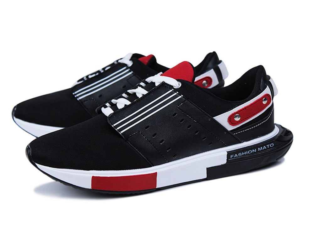 V17 Black Individuation Breathable Leather Sport Running Shoes