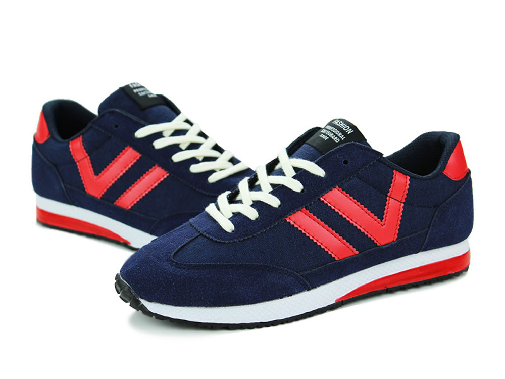 V17 Dark Blue Breathable Leather V Design Lace up Leisure Running Shoes
