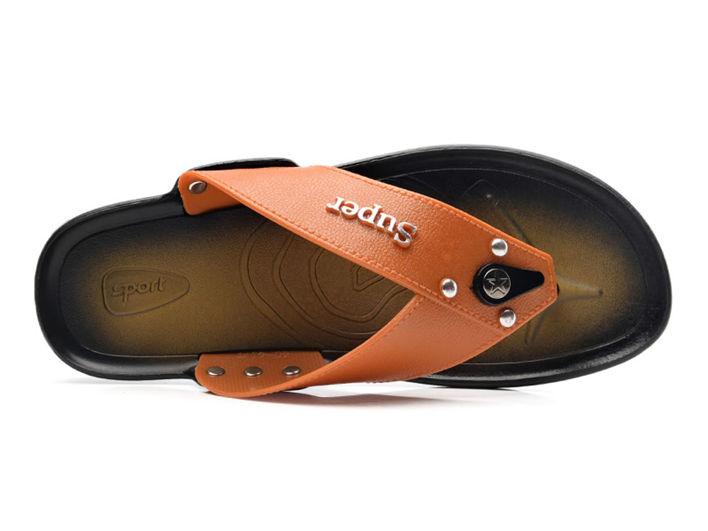 V17 Orange Super Fiber Leather Rivet Breathable Skate Sandals