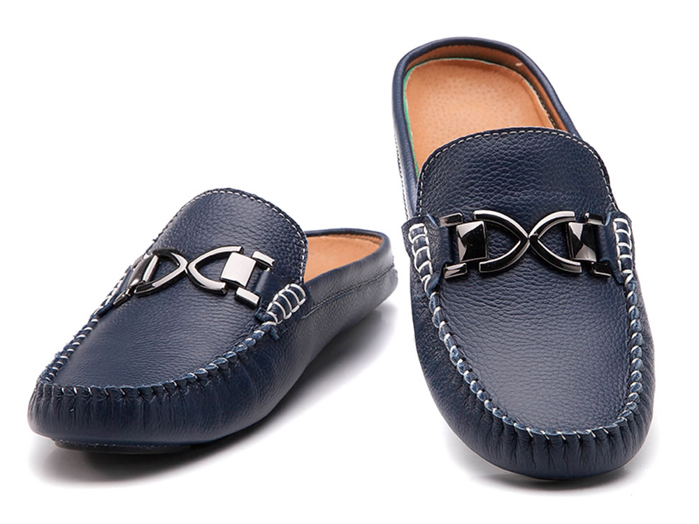 V17 Dark Blue High Top Cow Leather Slippers Breathable Leisure Shoes