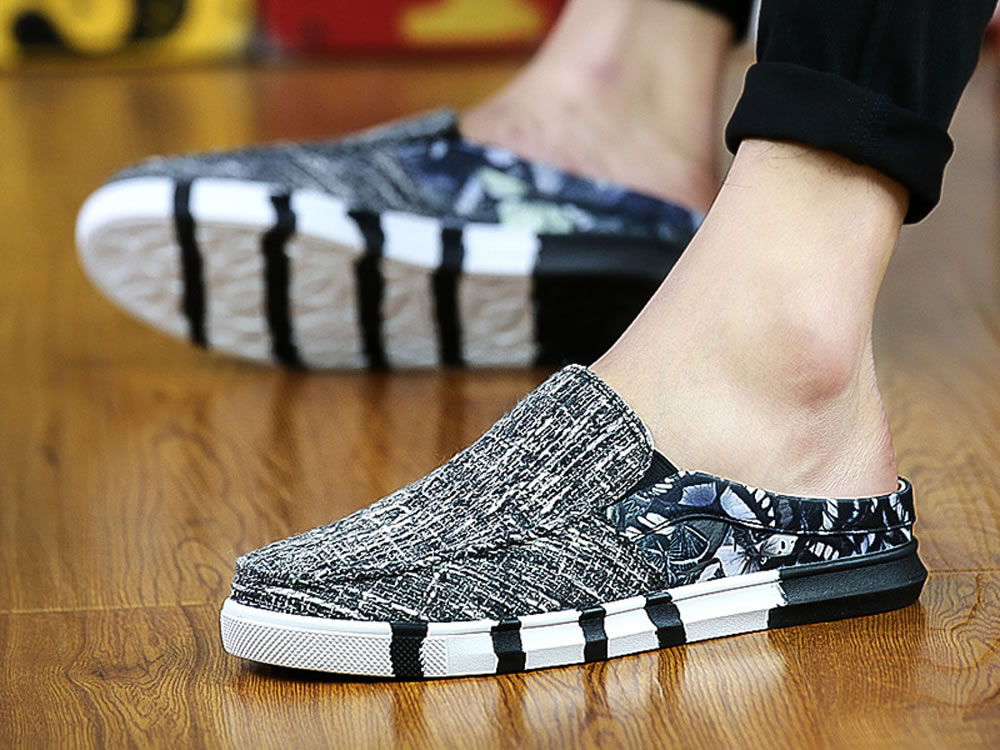 V17 Gray Canvas Slippers Breathable Leisure Casuals Shoes