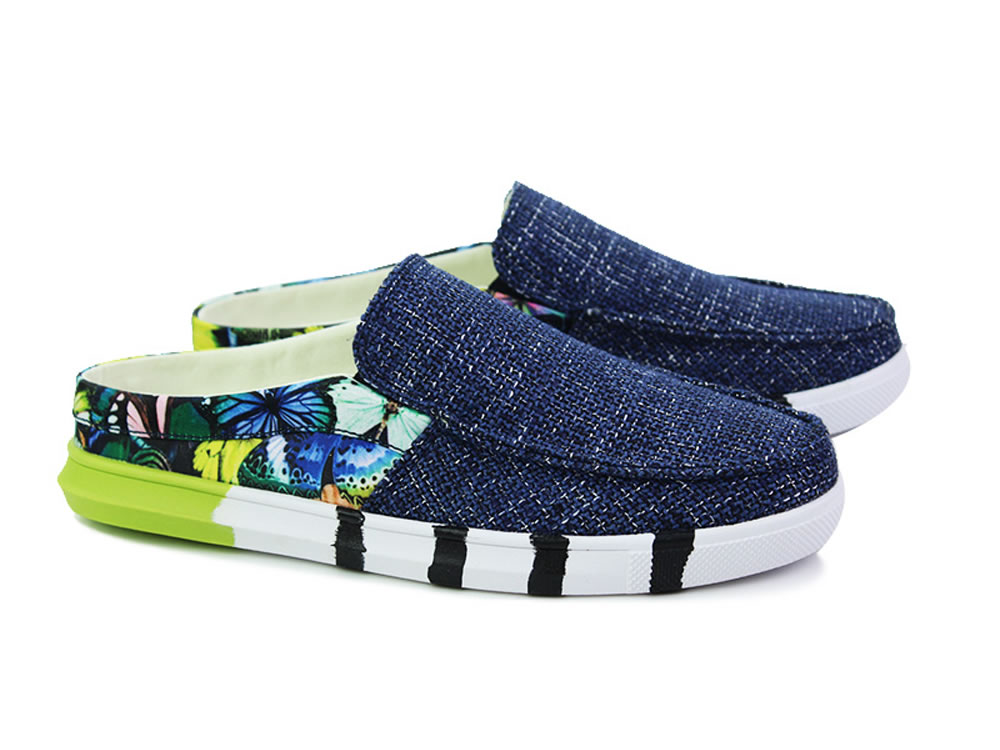 V17 Blue Canvas Slippers Breathable Leisure Casuals Shoes