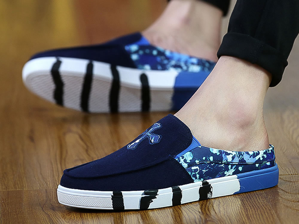 V17 Blue Leather Canvas Skate Slippers Breathable Leisure Shoes
