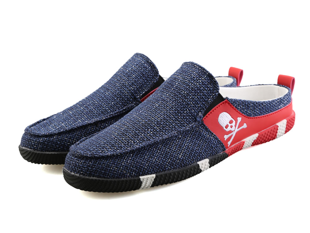 V17 Skull Breathable Canvas Slippers Dark Blue Skate Shoes