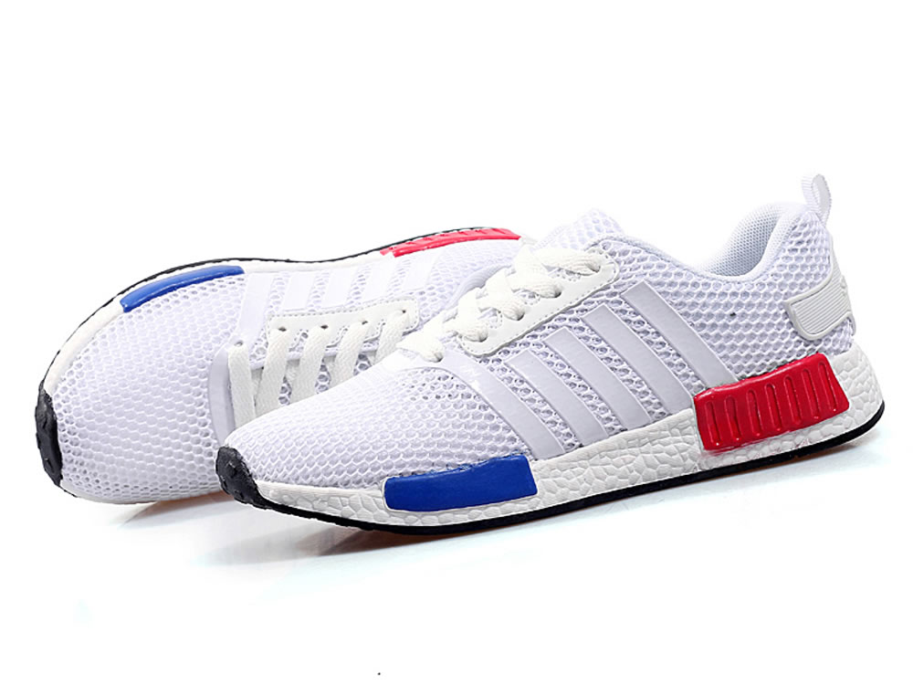 V17 White PU Honeycomb Net Cloth Rubber Sole Lovers Tennis Shoes