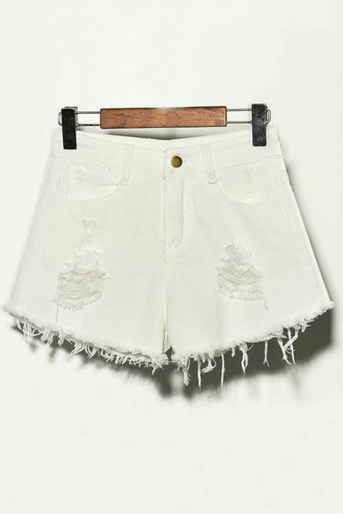 White Denim Ripped Hole Distressed High Waisted Jean Shorts