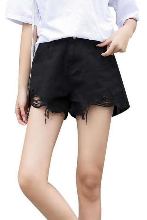 Loose Ripped Hole Edge Fringe High Waisted Denim Shorts in Black