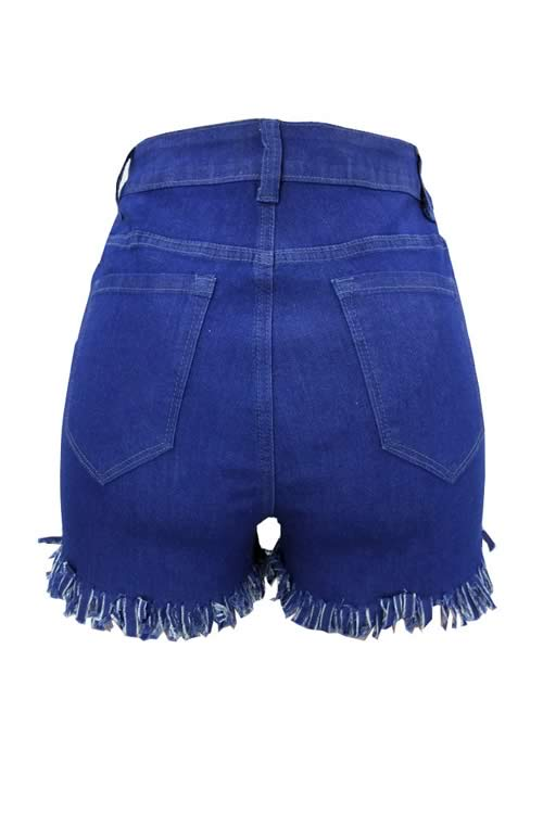 Dark Blue Close Fit Fringe Stretch High Waist Denim Shorts