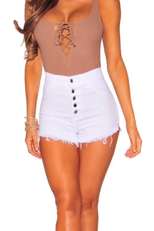 White Close Fit Fringe Stretch High Waist Denim Shorts