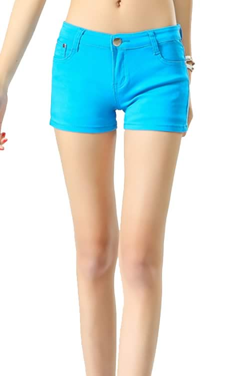 Sky Blue Body Shaper Stretch Low Rise Denim Shorts for Women