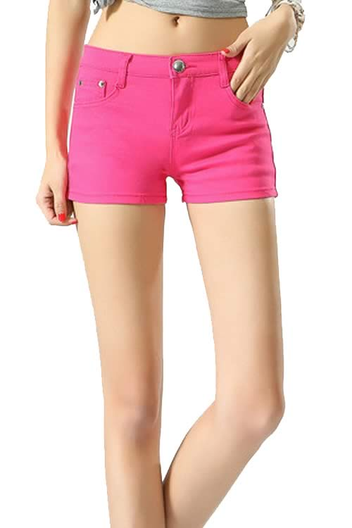 Rose Body Shaper Stretch Low Rise Denim Shorts for Women