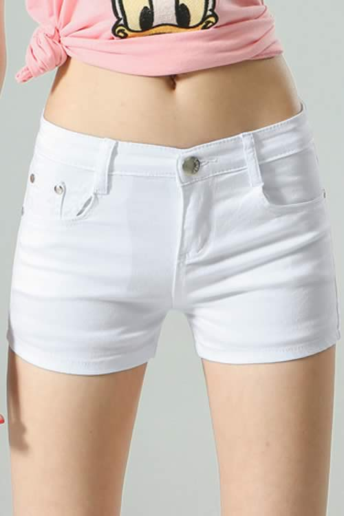 28ac72daac White Body Shaper Stretch Low Rise Denim Shorts for Women