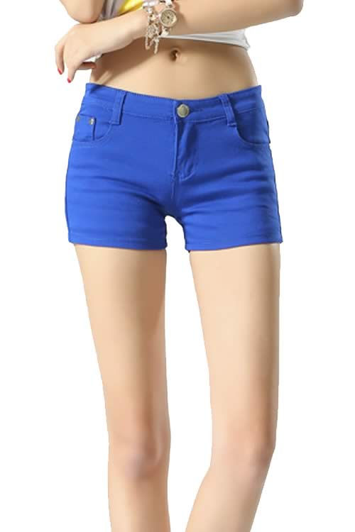 Blue Body Shaper Stretch Low Rise Denim Shorts for Women