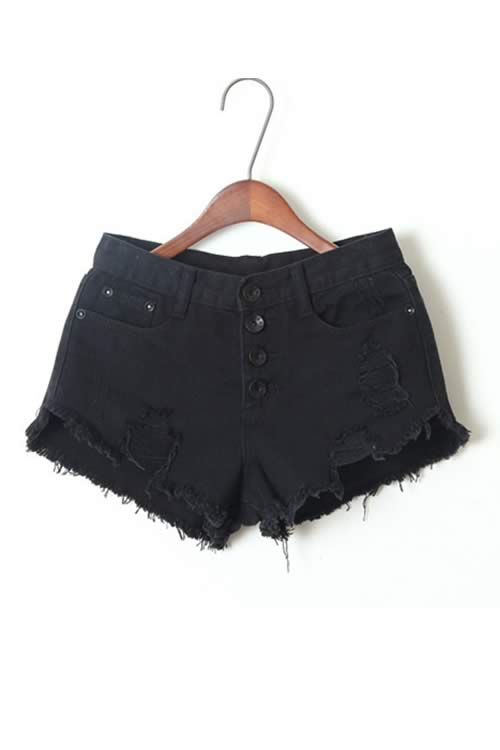 Black Stonewash Ripped Close Fit Fringe High Waist Denim Shorts