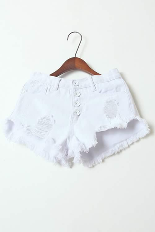 White Stonewash Ripped Close Fit Fringe High Waist Denim Shorts