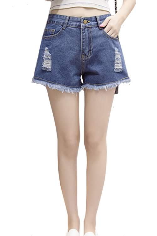 Dark Blue Women Ripped Fringe Denim High Waisted Loose Jean Shorts