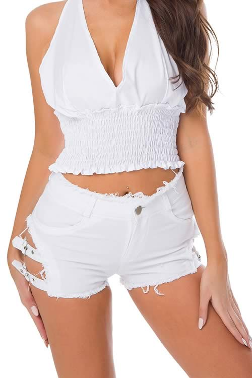 White Double Buckle Fringe High Waist Distressed Denim Shorts