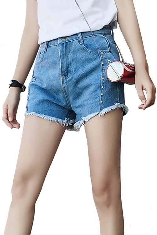 Light Blue Sexy Women Rivets Ripped High Waist Loose Denim Shorts