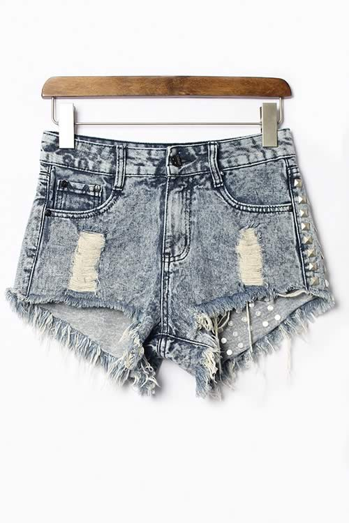 Gray Women Jean Shorts Ripped Rivets Fringe High Waist Denim Shorts