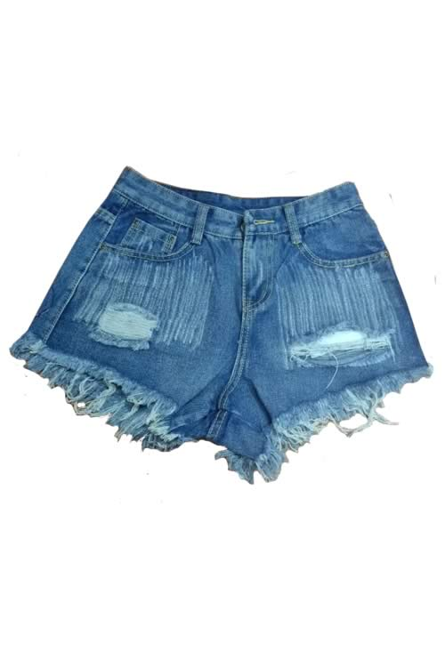 Light Blue Jean Shorts Ripped Rivets Fringe High Waist Denim Shorts