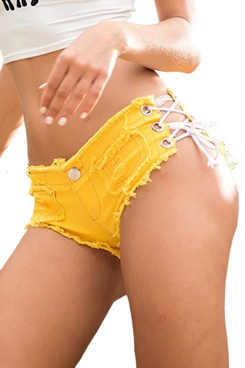Yellow Sexy Women Fringe Lace Up Low Rise Denim Shorts