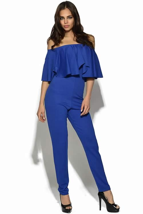 Luxury Womens Celebrity Frill Jumpsuit in Blue