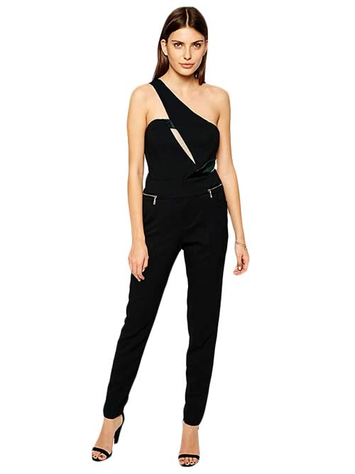 One Shoulder Asymmetric Cutout Jumpsuit in Black