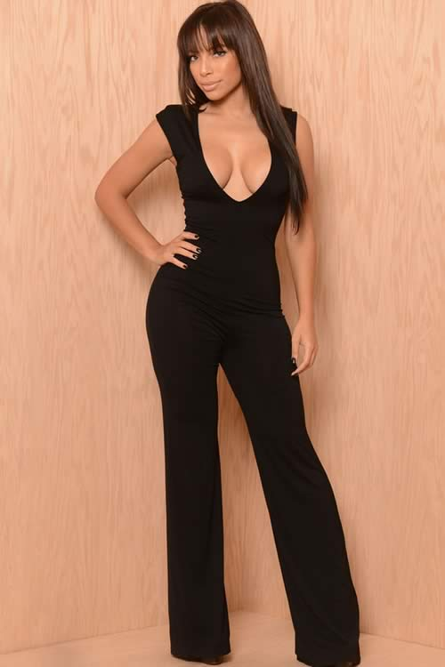 Womens Low Cut Deep V Neck Wide Leg Jumpsuit in Black