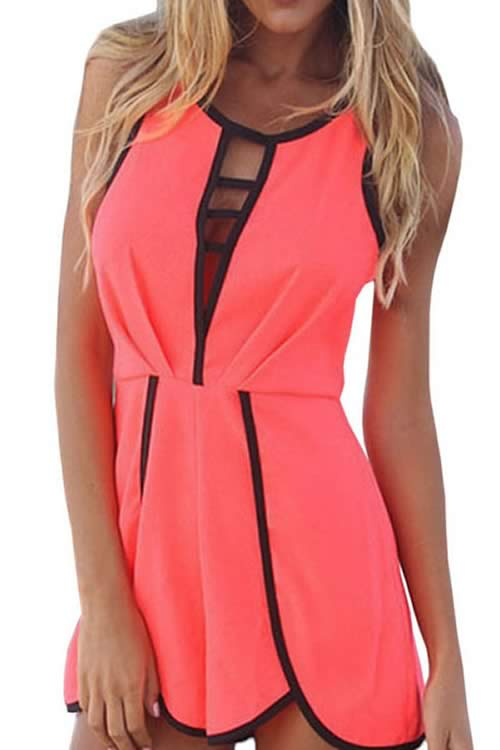 Sleeveless Contrast Trims Hollow out Jumpsuit in Rose