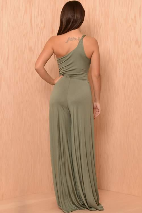Open Leg One Shoulder One Piece Jumpsuit for Women in Green